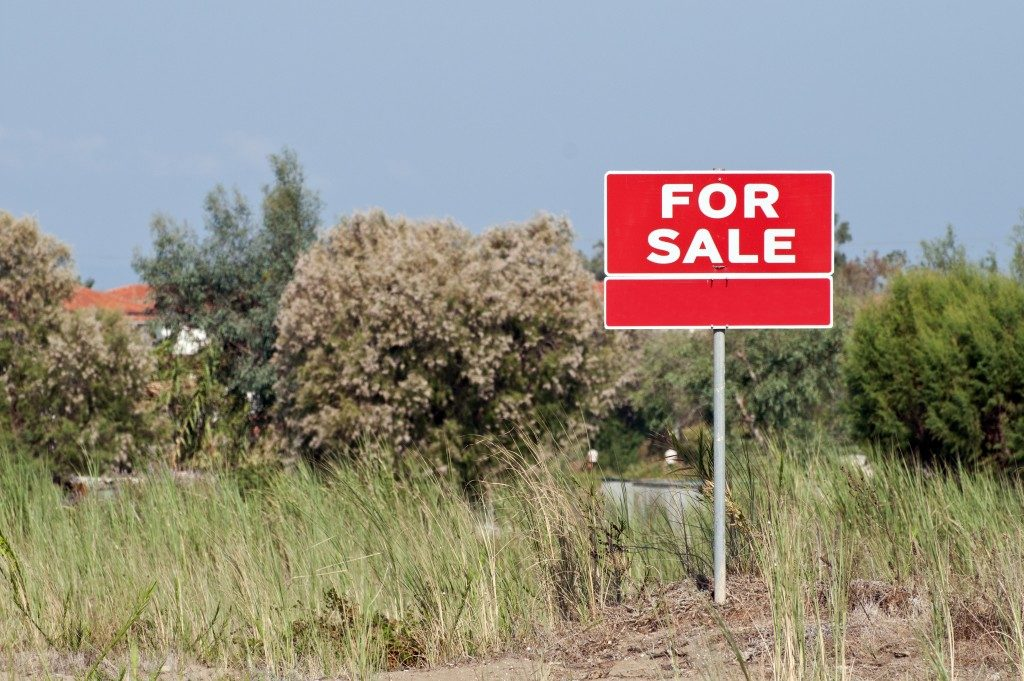 Land for sale sign in empty field