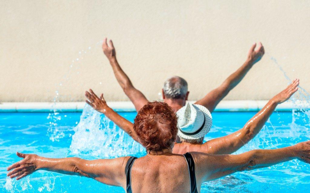 water aerobics in a swimming pool
